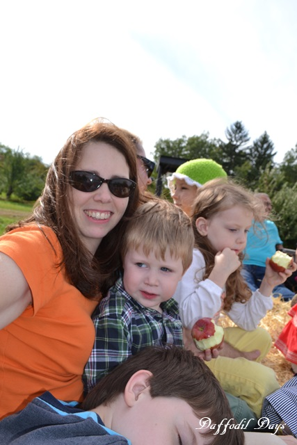 mom and kids on hayride